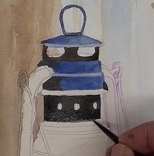 painting the top section of the hurricane lamp in watercolor
