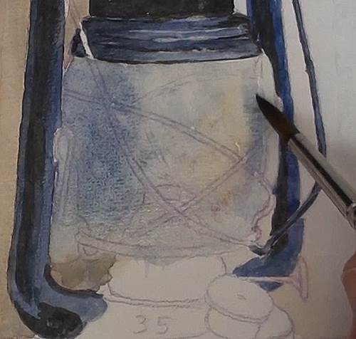 painting the glass of the hurricane lamp in watercolor
