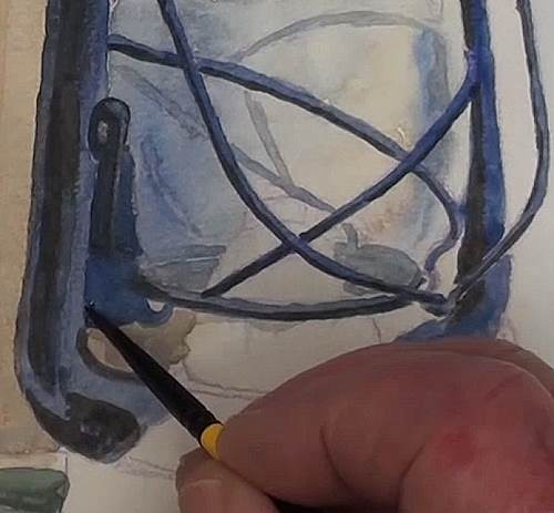 painting the lifting lever of the hurricane lamp in watercolor