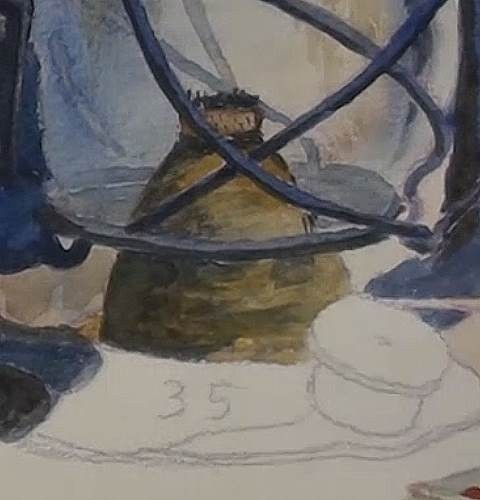 painting the wick mechanism of the lamp in watercolor
