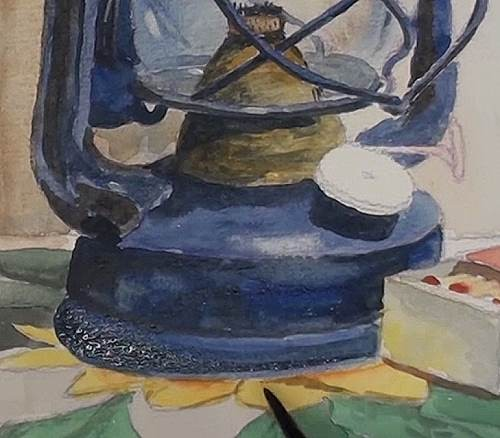 painting the lamp canister of the hurricane lamp in watercolor