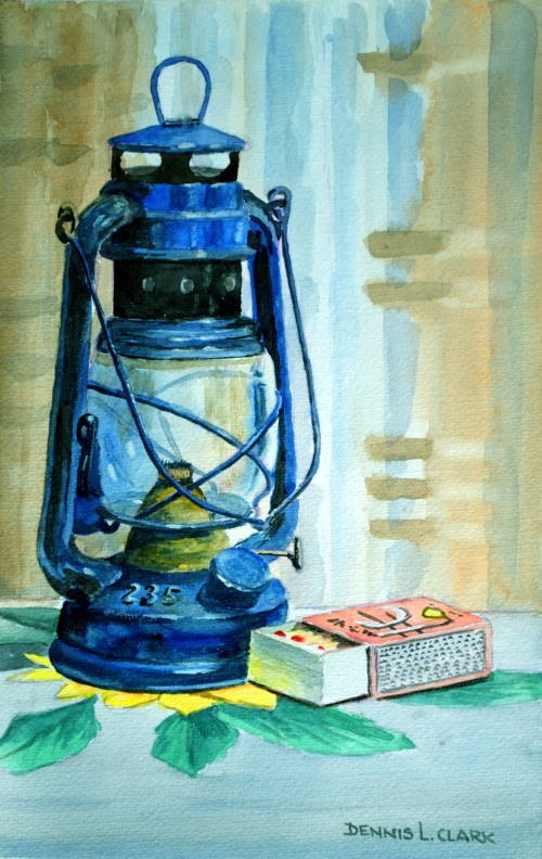 final painting of the hurricane lamp in watercolor