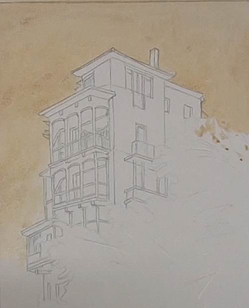 painting the background of the house on a cliff in watercolor