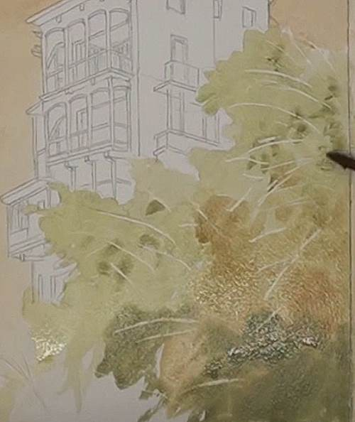 painting the foreground trees of the house on a cliff in watercolor