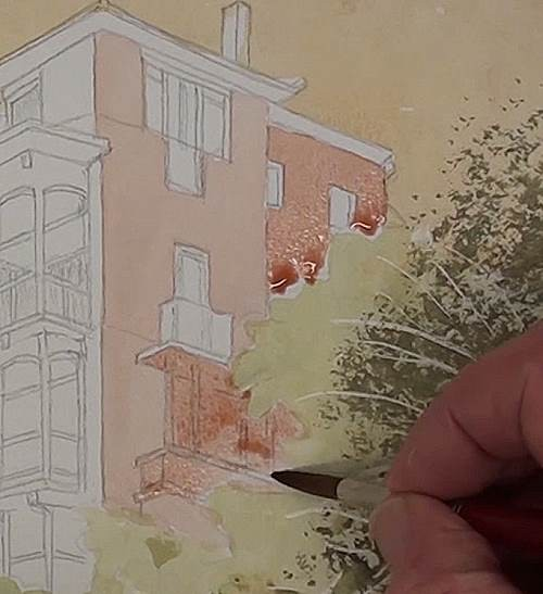 painting the building of the house on a cliff in watercolor
