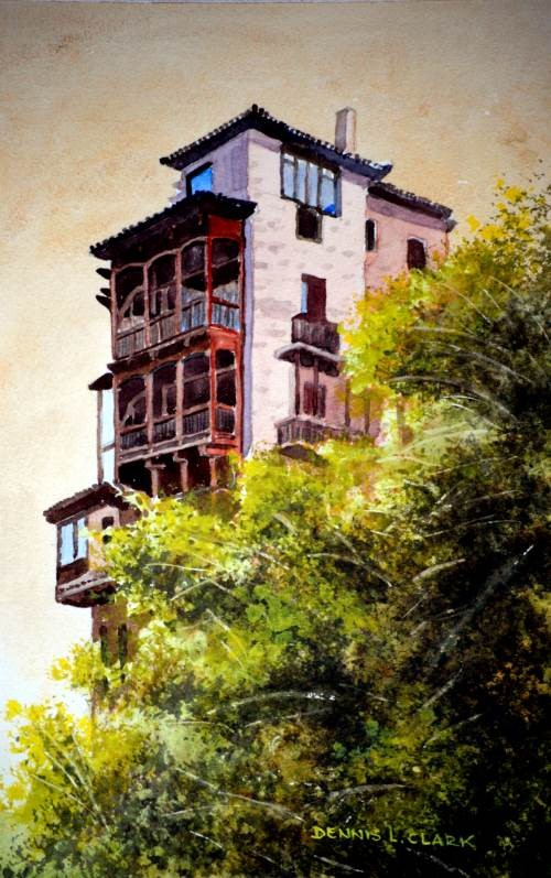 final painting of the house on a cliff in watercolor