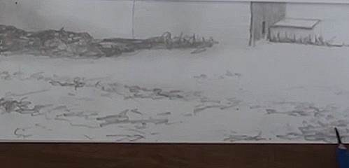 drawing the snow covered ground