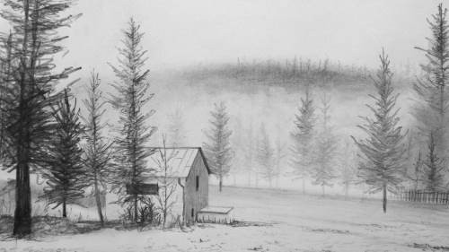 final drawing of the house in the snow in pencil