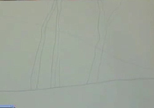 sketching the drawing onto the canvas