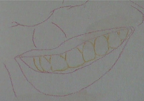 template of the mouth on the canvas
