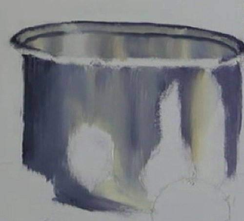 painting the sides of the pot