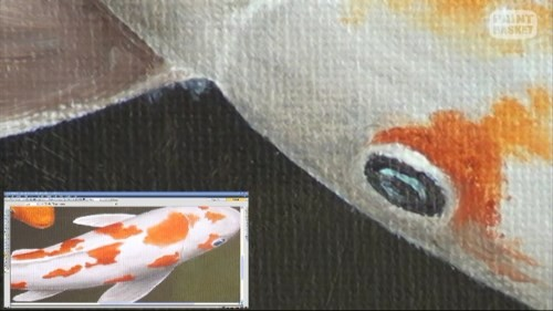 painting the eye of the koi
