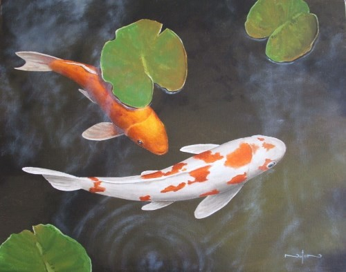 final painting a koi pond in oil