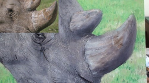 painting the rhino's horn