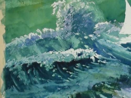 画波浪中的阴影