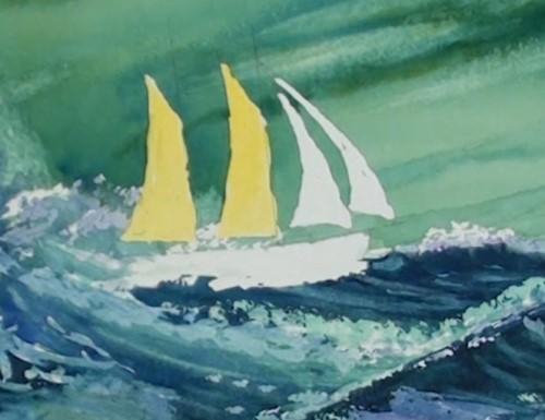 画黄色的帆