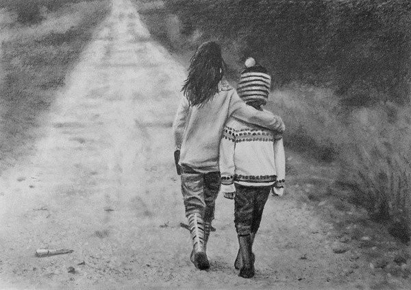 Final drawing of children walking down the pathway