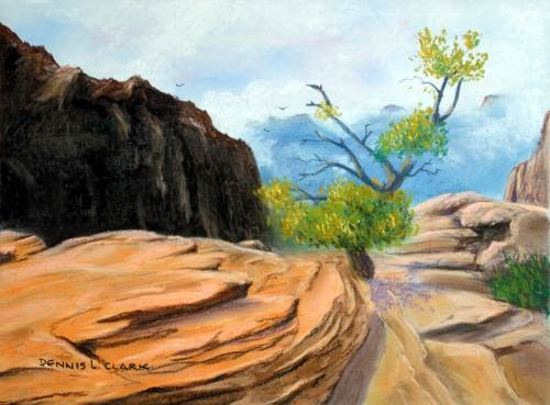 final drawing of rock formations in pastel