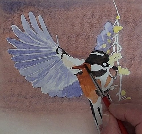 painting the berries and bird's body of bird eating berries in watercolor