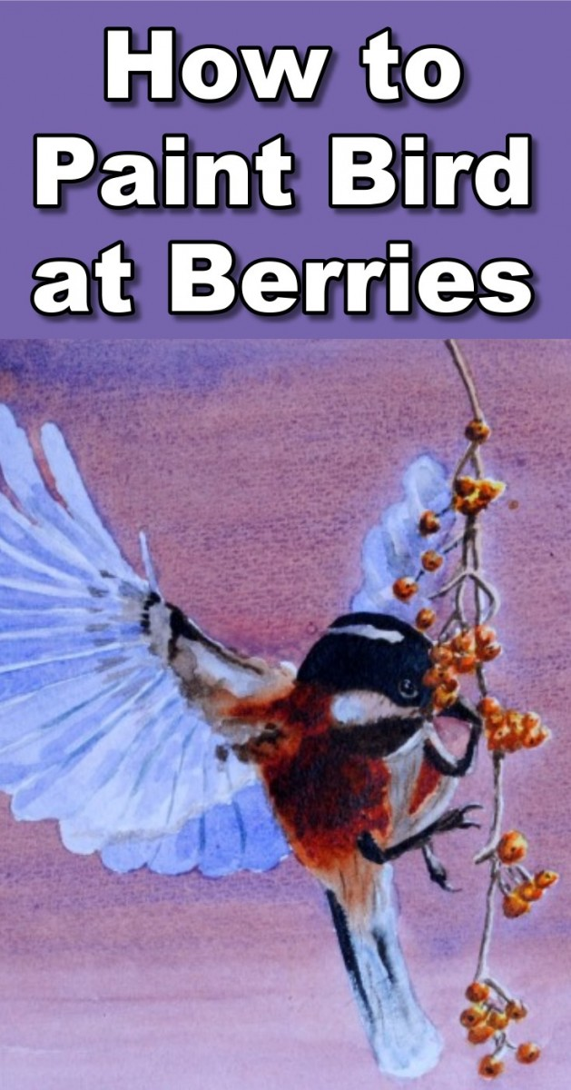 how to paint a bird eating berries in watercolor