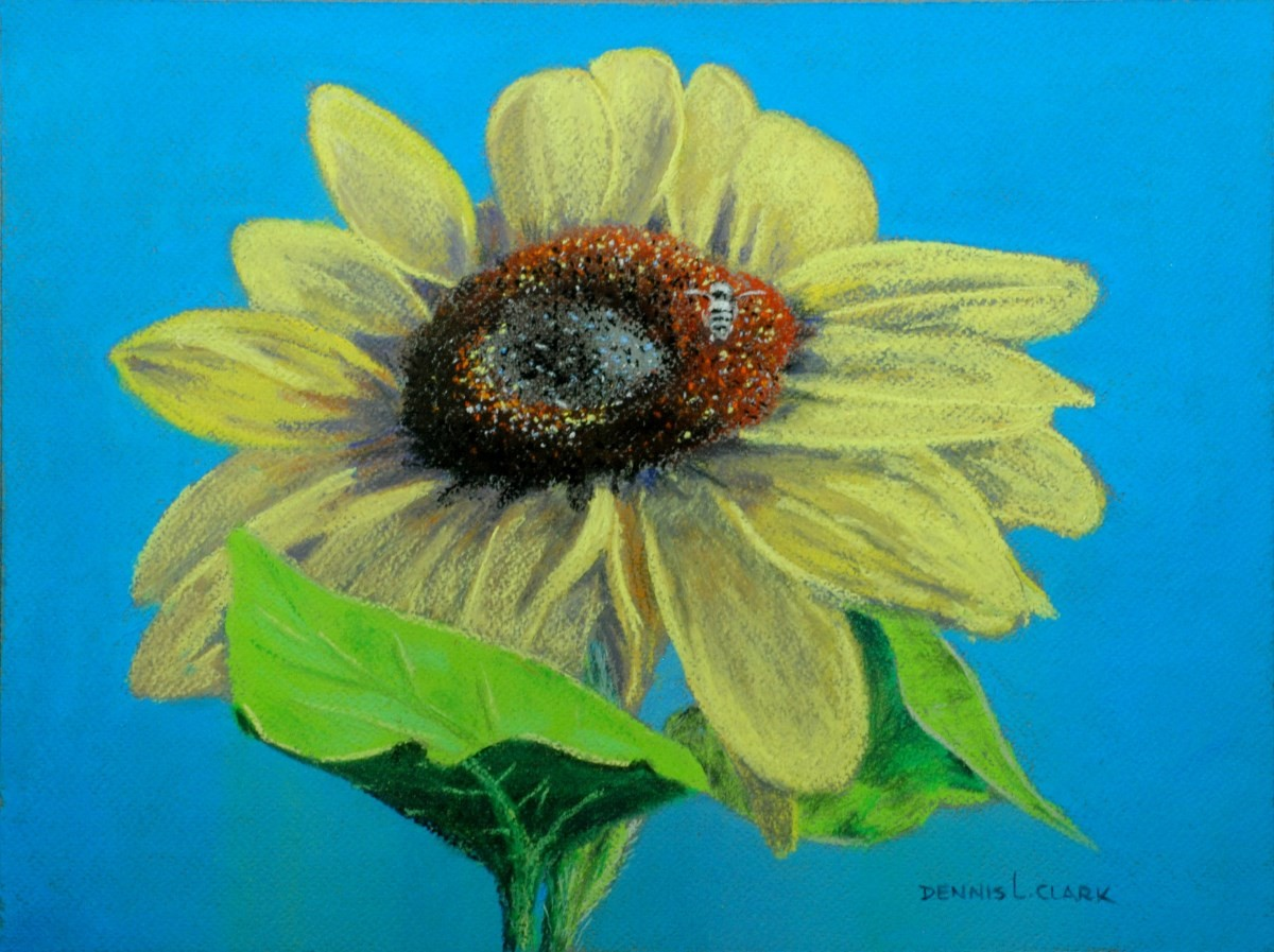 How To Draw A Sunflower With A Bee In Pastel Online Art