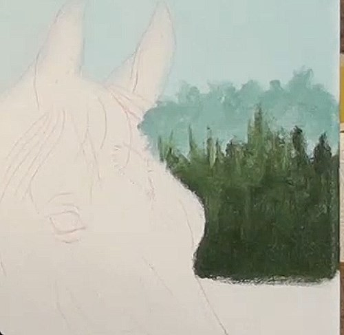 painting foreground trees - horse portrait in acrylic