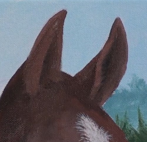 painting the ears - horse portrait in acrylic