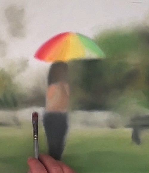 painting the umbrella - how to paint raindrops in oil
