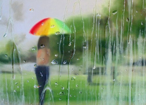 final painting - how to paint raindrops in oil