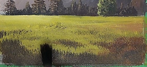 painting the meadow - how to paint a early morning splendor in acrylic