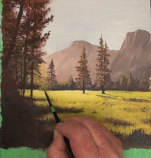 painting the trees - how to paint a early morning splendor in acrylic