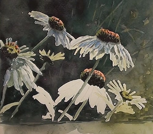 painting the petals - how to paint flower reflections in watercolor