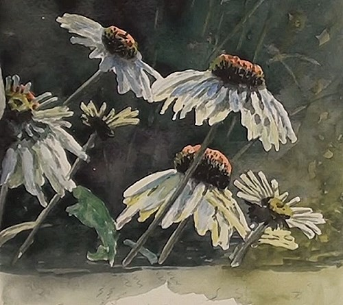 painting the leaves - how to paint flower reflections in watercolor