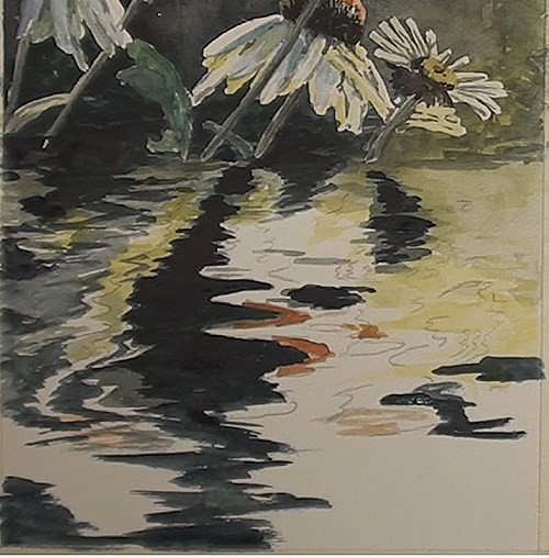 darkening the water reflection - how to paint flower reflections in watercolor