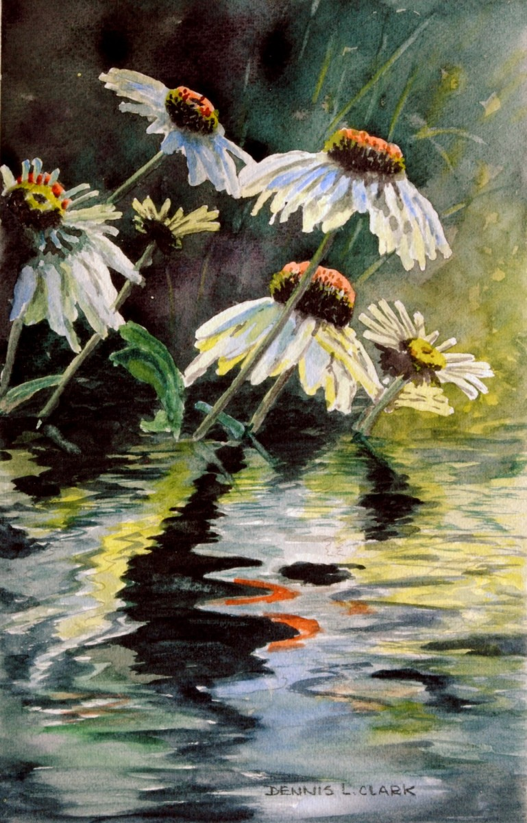 How To Paint Flower Reflections In Water In Watercolor