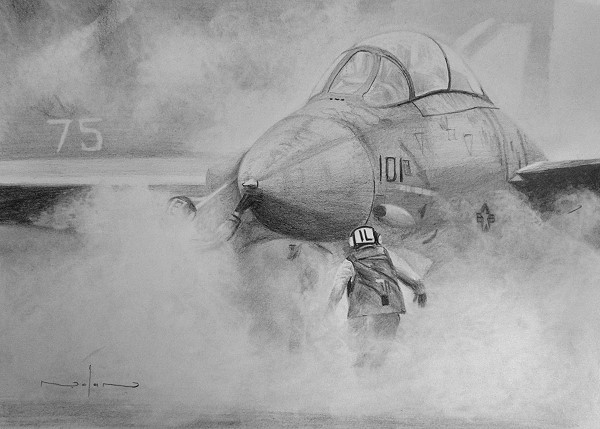 completed fighter jet drawing
