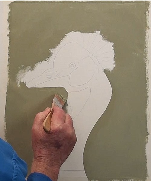 how-to-paint-a-crown-crested-crane-in-acrylic-background