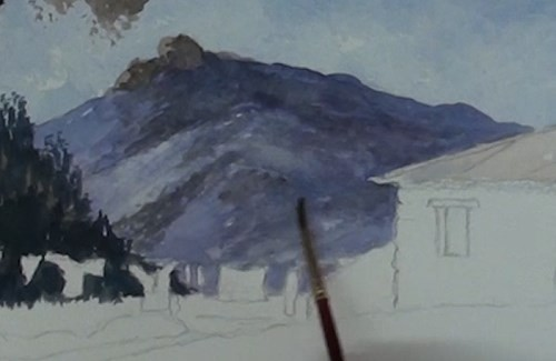 how-to-paint-a-cottage-in-a-valley-landscape-in-watercolor-detail-hill