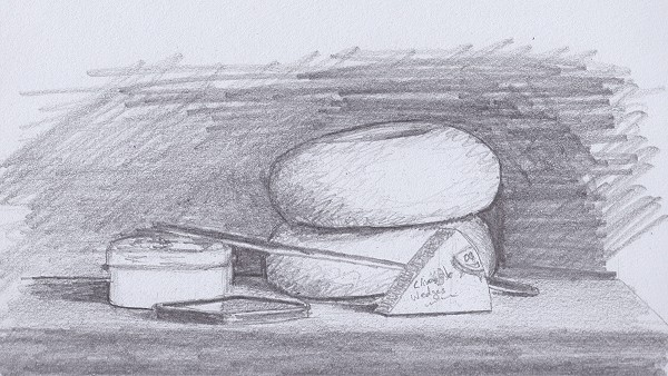 Lunch still life drawing