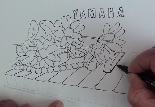 drawing-flowers-on-a-piano-in-pen-and-ink-drawing-the-outlines