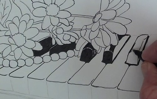 drawing-flowers-on-a-piano-in-pen-and-ink-piano-keys