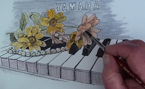 drawing-flowers-on-a-piano-in-pen-and-ink-adding-color-wash