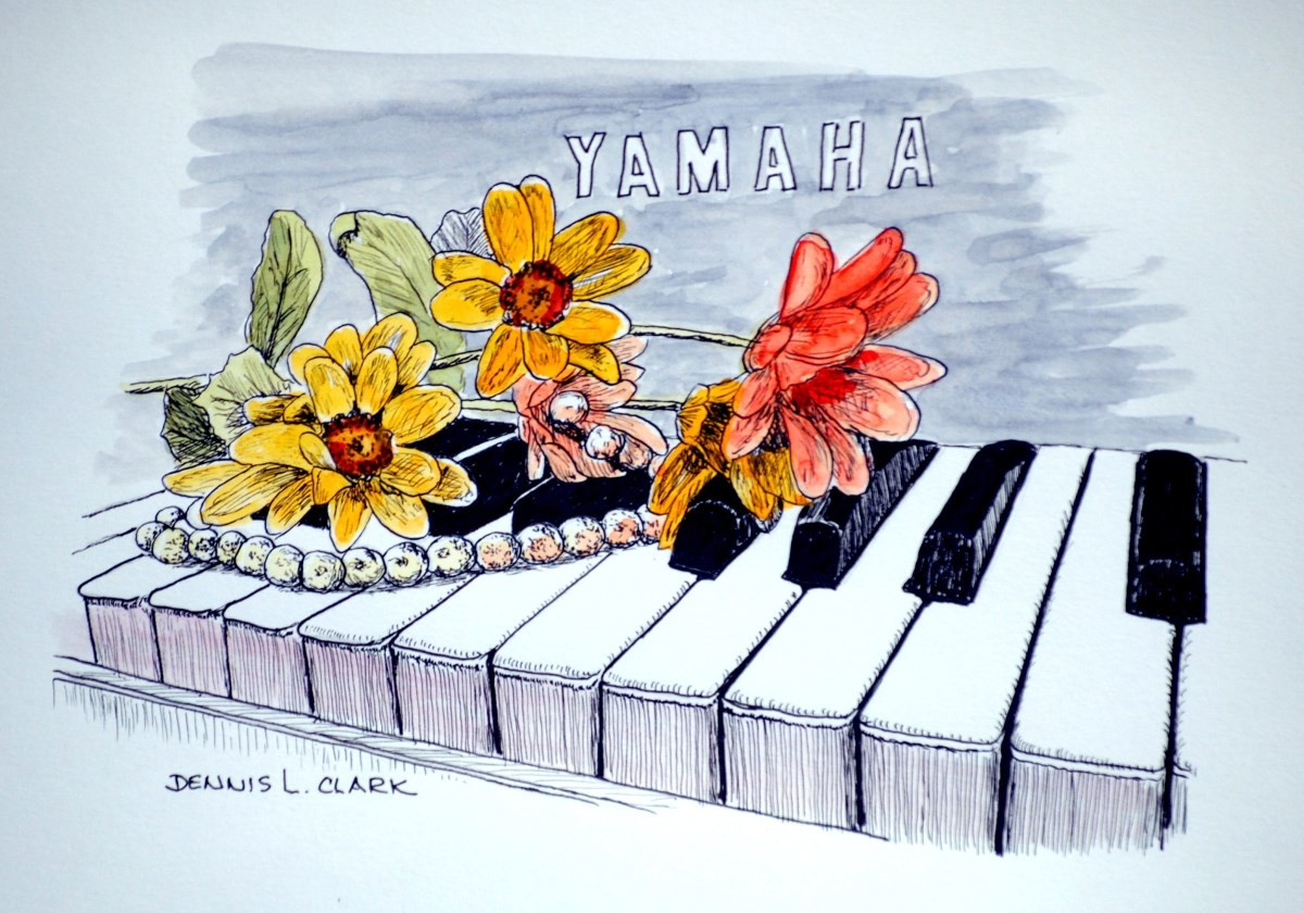 How To Draw Flowers On Piano In Pen And Ink Online Art