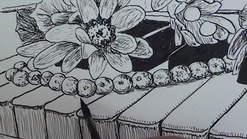 drawing-flowers-on-a-piano-in-pen-and-ink-pearls