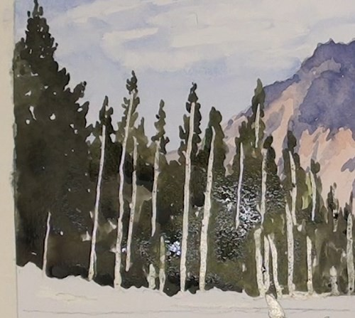 final-painting-peaceful-mountains-stream-in-watercolor-trees-in-shadow
