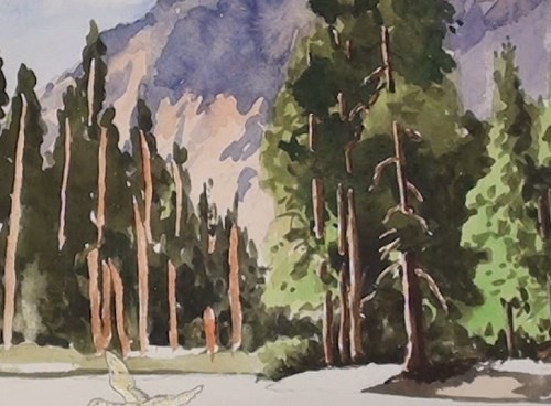 final-painting-peaceful-mountains-stream-in-watercolor-tree-trunks