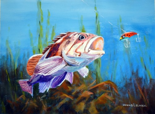final-painting-sea bass-in-acrylic