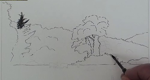 how-to-draw-a-meadow-scene-landscape-in-pen-and-ink-outline-and-trees