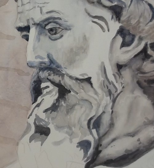 how-to-paint-a-statue-bust-in-watercolor-mouth-nose-beard