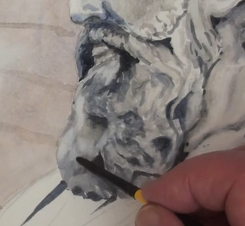 how-to-paint-a-statue-bust-in-watercolor-completing-beard